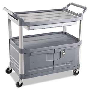 RUBBERMAID COMMERCIAL PROD. Xtra Instrument Cart, 300-lb Cap, Three-Shelf, 20w x 40-5/8d x 37-4/5h, Gray