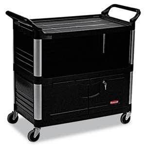 RUBBERMAID COMMERCIAL PROD. Xtra Equipment Cart, 300-lb Cap, Three-Shelf, 20-3/4w x 40-5/8d x 37-4/5h, Black