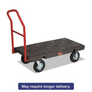 "RUBBERMAID COMMERCIAL PROD. Heavy-Duty Platform Truck Cart, 1200lb Capacity, 24"" x 48"" Platform, Black"