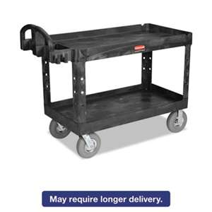 RUBBERMAID COMMERCIAL PROD. Heavy-Duty Utility Cart, Two-Shelf, 26w x 55d x 33 1/4h, Black