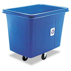 RUBBERMAID COMMERCIAL PROD. Recycling Cube Truck, Rectangular, Polyethylene, 500lb Cap, Blue