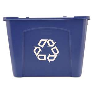 RUBBERMAID COMMERCIAL PROD. Stacking Recycle Bin, Rectangular, Polyethylene, 14gal, Blue