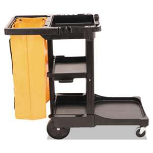 RUBBERMAID COMMERCIAL PROD. Multi-Shelf Cleaning Cart, Three-Shelf, 20w x 45d x 38-1/4h, Black