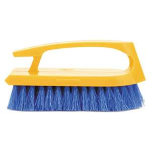 "RUBBERMAID COMMERCIAL PROD. Long Handle Scrub Brush, 6"" Brush, Yellow Plastic Handle/Blue Bristles"