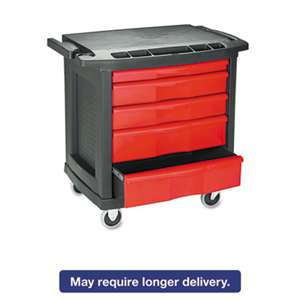 RUBBERMAID COMMERCIAL PROD. Five-Drawer Mobile Workcenter, 32 1/2w x 20d x 33 1/2h, Black Plastic Top