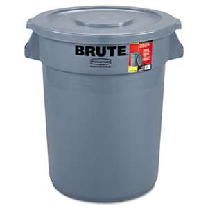 Rubbermaid Commercial 863292GRA Brute Container All-Inclusive, Round, Plastic, 32gal, Gray