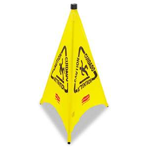 RUBBERMAID COMMERCIAL PROD. Three-Sided Caution, Wet Floor Safety Cone, 21w x 21d x 30h, Yellow