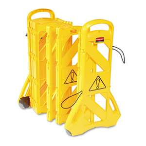 "RUBBERMAID COMMERCIAL PROD. Portable Mobile Safety Barrier, Plastic, 13ft x 40"", Yellow"