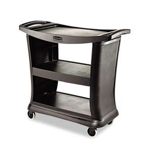 RUBBERMAID COMMERCIAL PROD. Executive Service Cart, Three-Shelf, 20-1/3w x 38-9/10d, Black