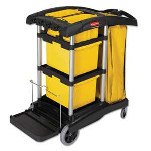 RUBBERMAID COMMERCIAL PROD. HYGEN M-fiber Healthcare Cleaning Cart, 22w x 48-1/4d x 44h, Black/Yellow/Silver