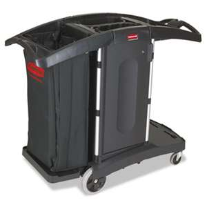 RUBBERMAID COMMERCIAL PROD. Compact Folding Housekeeping Cart, 22w x 51 3/4d x 44h, Black