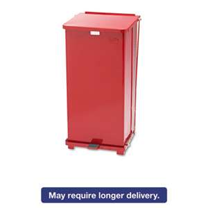 RUBBERMAID COMMERCIAL PROD. Defenders Biohazard Step Can, Square, Steel, 24gal, Red