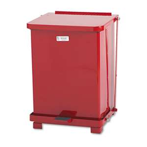 RUBBERMAID COMMERCIAL PROD. Defenders Biohazard Step Can, Square, Steel, 7gal, Red