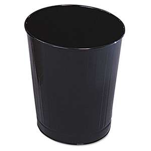 RUBBERMAID COMMERCIAL PROD. Fire-Safe Wastebasket, Round, Steel, 6 1/2 gal, Black