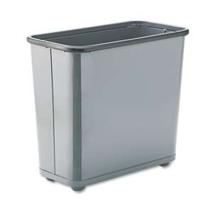 RUBBERMAID COMMERCIAL PROD. Fire-Safe Wastebasket, Rectangular, Steel, 7.5gal, Gray