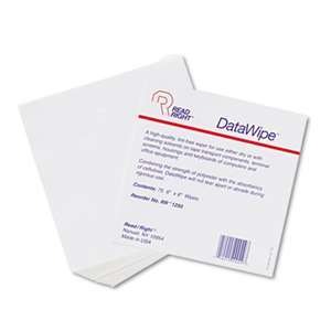 Read Right RR1250 DataWipe Office Equipment Cleaner, Cloth, 6 x 6, White, 75/Pack