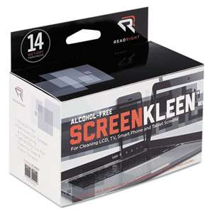 Read Right RR1291 ScreenKleen Alcohol-Free Wipes, Cloth, 5 x 5, 14/Box