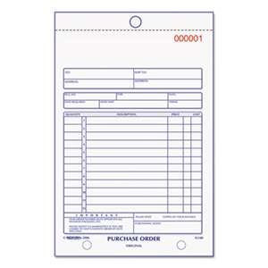 REDIFORM OFFICE PRODUCTS Purchase Order Book, Bottom Punch, 5 1/2 x 7 7/8, Two-Part Carbonless, 50 Forms