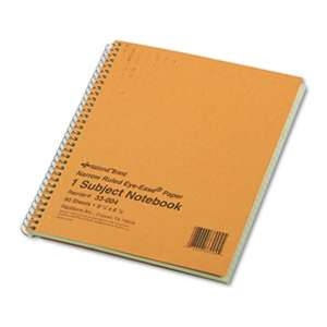 REDIFORM OFFICE PRODUCTS Subject Wirebound Notebook, Narrow Rule, 8 1/4 x 6 7/8, Green, 80 Sheets