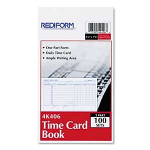 REDIFORM OFFICE PRODUCTS Employee Time Card, Daily, Two-Sided, 4-1/4 x 7, 100/Pad