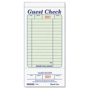 REDIFORM OFFICE PRODUCTS Guest Check Book, 3 3/8 x 6 1/2, Tear-Off at Bottom, 50/Book