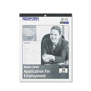 REDIFORM OFFICE PRODUCTS Employment Application, 8 1/2 x 11, 50 Forms