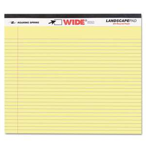 ROARING SPRING PAPER PRODUCTS WIDE Landscape Format Writing Pad, College Ruled, 11 x 9 1/2, Canary, 40 Sheets