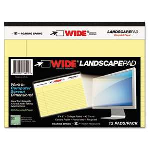ROARING SPRING PAPER PRODUCTS WIDE Landscape Format Writing Pad, College Ruled, 8 x 6, Canary, 40 Sheets