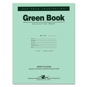 ROARING SPRING PAPER PRODUCTS Green Books Exam Books, Stapled, Wide Rule,11 x 8 1/2, 8 Sheets/16 Pages