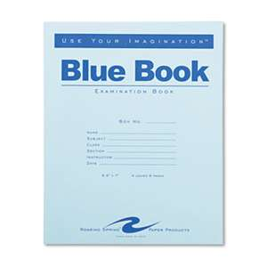 ROARING SPRING PAPER PRODUCTS Exam Blue Book, Legal Rule, 8 1/2 x 7, White, 4 Sheets/8 Pages