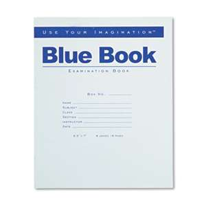 ROARING SPRING PAPER PRODUCTS Exam Blue Book, Legal Rule, 8 1/2 x 7, White, 8 Sheets/16 Pages