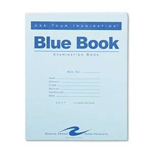 ROARING SPRING PAPER PRODUCTS Exam Blue Book, Legal Rule, 8 1/2 x 7, White, 12 Sheets/24 Pages