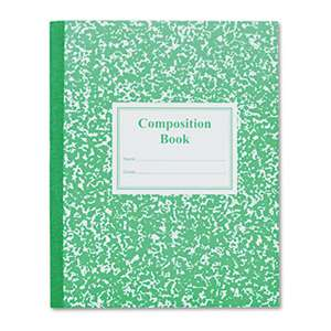 ROARING SPRING PAPER PRODUCTS Grade School Ruled Composition Book, 9 3/4 x 7 3/4, Green Cover, 50 Pages