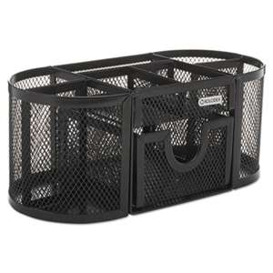 ELDON OFFICE PRODUCTS Mesh Pencil Cup Organizer, Four Compartments, Steel, 9 1/3 x 4 1/2 x 4, Black