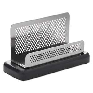 ROLODEX Distinctions Business Card Holder, Capacity 50 2 1/4 x 4 Cards, Metal/Black