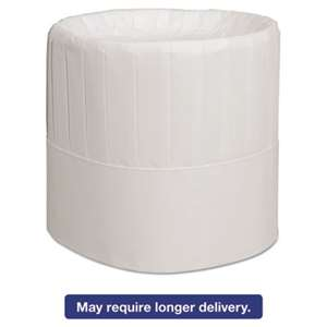 "Royal RCH7 Pleated Chef's Hats, Paper, White, Adjustable, 7"" Tall, 28/Carton"