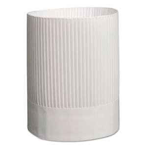 ROYAL PAPER PRODUCTS Stirling Fluted Chef's Hats, Paper, White, Adjustable, 9 in. Tall, 12/Carton