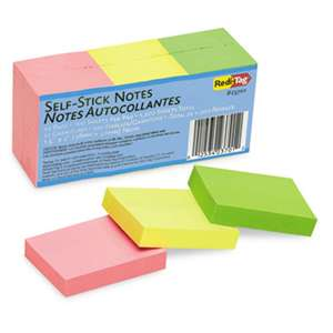 REDI-TAG CORPORATION Self-Stick Notes, 1 1/2 x 2, Neon, 12 100-Sheet Pads/Pack