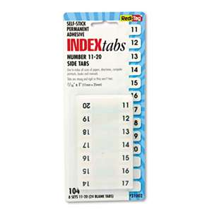 REDI-TAG CORPORATION Side-Mount Self-Stick Plastic Index Tabs Nos 11-20, 1 inch, White, 104/Pack