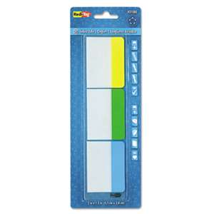 REDI-TAG CORPORATION Write-On Self-Stick Index Tabs, 1 1/2 x 2, Blue, Green, Yellow, 30/Pack
