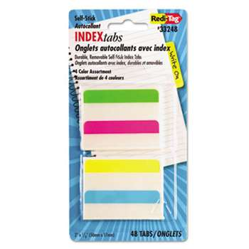 REDI-TAG CORPORATION Write-On Self-Stick Index Tabs, 2 x 11/16, 4 Colors, 48/Pack