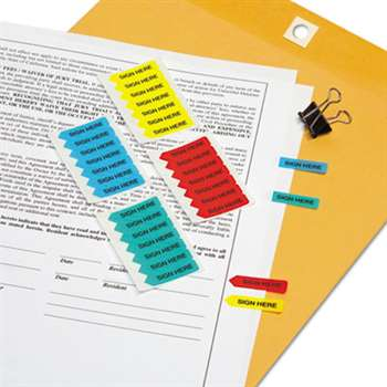 "REDI-TAG CORPORATION Mini Arrow Page Flags, ""Sign Here"", Blue/Mint/Red/Yellow, 126 Flags/Pack"
