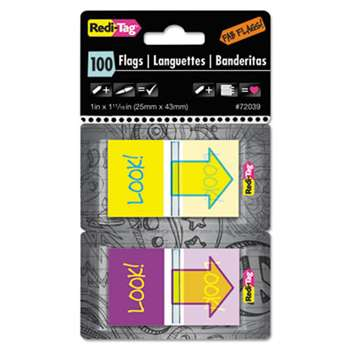 "REDI-TAG CORPORATION Pop-Up Fab Page Flags w/Dispenser, ""Look!"", Purple/Yellow; Yellow/Teal, 100/Pack"