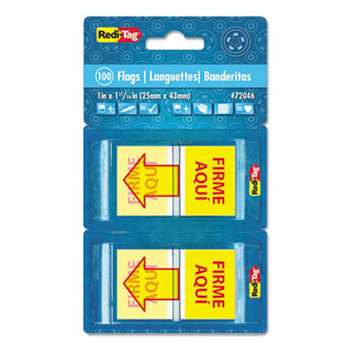 "REDI-TAG CORPORATION Spanish Page Flags in Pop-Up Dispenser, ""FIRME AQUl"", Red/Yellow, 100/Pack"