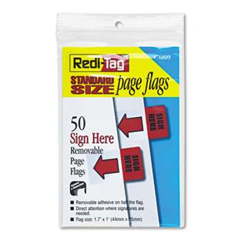 "REDI-TAG CORPORATION Removable/Reusable Page Flags, ""Sign Here"", Red, 50/Pack"