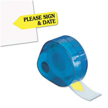 "REDI-TAG CORPORATION Arrow Message Page Flags in Dispenser, ""Please Sign and Date"", Yellow, 120 Flags"