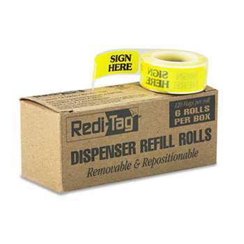 "REDI-TAG CORPORATION Arrow Message Page Flag Refills, ""Sign Here"", Yellow, 6 Rolls of 120 Flags"