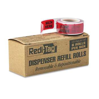 "REDI-TAG CORPORATION Arrow Message Page Flag Refills, ""Sign Here"", Red, 6 Rolls of 120 Flags/Box"