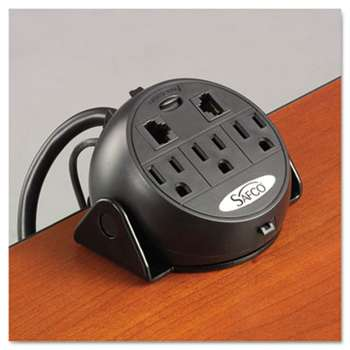 SAFCO PRODUCTS Power Module, 3 Outlets, 2 RJ-45 Ports, 8 ft Cord