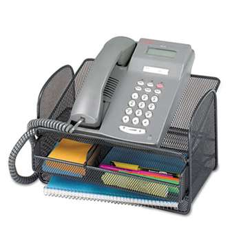 SAFCO PRODUCTS Onyx Angled Mesh Steel Telephone Stand, 11 3/4 x 9 1/4 x 7, Black